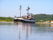 Boat on the Wisla River Royalty Free Stock Photo