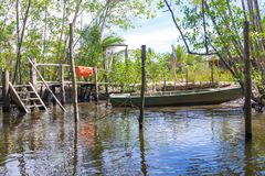 Boat wood port on a mangrove canal. Itacare, Brazil - December 9, 2016: Boat wood port on a mangrove green water canal stock image