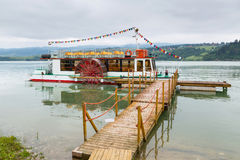 Boat at wooden pier on the Czorsztyn lake Royalty Free Stock Image