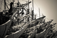 Boat and workers of the Sunda Kelapa harbour Jakarta, Indonesia Royalty Free Stock Photography