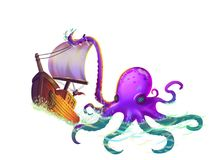 The Boat Wrapped in the Octopus Tentacles on the Sea. With Fantastic, Realistic and Futuristic Style. Video Game`s Digital CG Artwork, Concept Illustration Royalty Free Stock Images