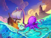 The Boat Wrapped in the Octopus Tentacles on the Sea. With Fantastic, Realistic and Futuristic Style. Video Game`s Digital CG Artwork, Concept Illustration stock illustration