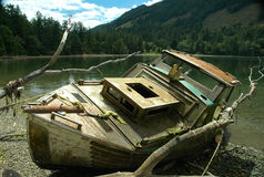 Boat Wreck. Wrecked boat at Burgoyne Bay, Salt Spring Island, BC Stock Images