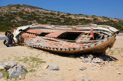 Boat wreck. An old wooden boat in Amorgos, Greece Stock Photography