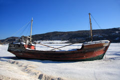 Boat wreck on frozen river Royalty Free Stock Photo