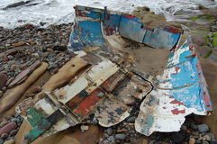 Boat wreck. Remains of a boat on the beach at amble Royalty Free Stock Photos