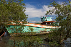 Boat wreck in Thailand. Is a silent reminder of the tsunami Royalty Free Stock Photo