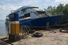 Boat wreck in Thailand. Is a silent reminder of the tsunami Stock Photo