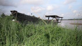 Boat wrecked , mekong, cambodia, southeast asia stock video footage