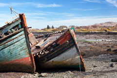 Boat wrecks on Salen bay, Isle of Mull, Scotland Royalty Free Stock Photo