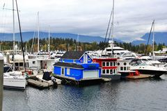 Boat, yacht in Coal Harbour, Downtown Vancouver, British Columbia, Canada Royalty Free Stock Image