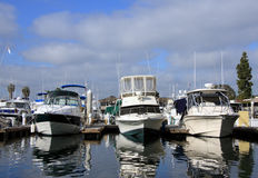 Boat yacht in a marina. The image was taken in San Diego Stock Images
