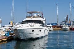 Boat yacht moored Stock Photos