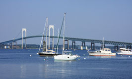 Boat yacht near a bridge. Boat yacht in a marina , the image was taken in NewPort USA Stock Image