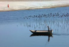 Boat on Yamuna River, India, Agra Stock Photography