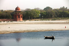 Boat on Yamuna River, India, Agra Royalty Free Stock Photo