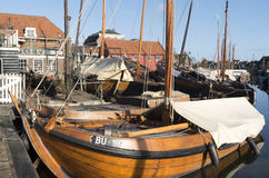 Boat yard for fishing boats. Boat yard for fishing boats in the port of Spakenburg in the Netherlands stock images