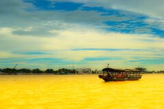 Boat on Yellow River Royalty Free Stock Image