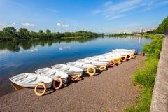 Boat at Yenisei, Krasnoyarsk royalty free stock photo