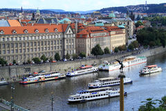 By boat you can discover city Prague Royalty Free Stock Photography