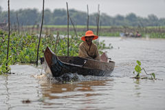Boater along shores, Tonle Sap, Cambodia Stock Image