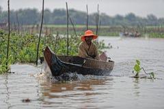 Boater along shores, Tonle Sap, Cambodia Stock Image
