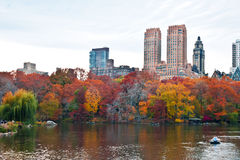 Boaters at The Lake in Central Park, New York in Autumn Royalty Free Stock Photography
