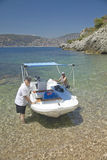 Boaters in Mediteranean near Villefranche sur Mer, French Riviera, France Royalty Free Stock Photo