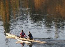 Boaters On The North Saskatchewan River In Outrigger Royalty Free Stock Photos