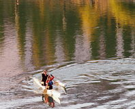 Boaters On The North Saskatchewan River In Outrigger Royalty Free Stock Photo