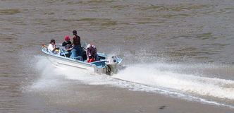 Boaters On North Saskatchewan River Royalty Free Stock Images