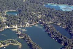 Boaters paradise. Aerial view of a lake front that is a boaters paradise Royalty Free Stock Images