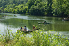 Boaters on Roanoke River Royalty Free Stock Photo