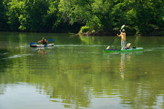 Boaters on Roanoke River Royalty Free Stock Photography