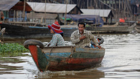 Boaters at Tonie Sap, Cambodia Stock Images