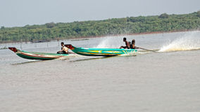 Boaters at Tonle Sap, Cambodia Royalty Free Stock Photos