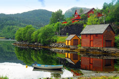 Boath houses in Norway  Royalty Free Stock Image