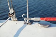 Boathook en el velero Fotos de archivo