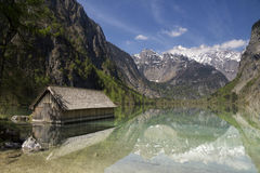 Boathous im See Obersee Lizenzfreies Stockfoto