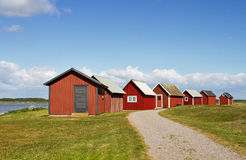 Boathouse. Typical red Boathouse inSweden Royalty Free Stock Photo