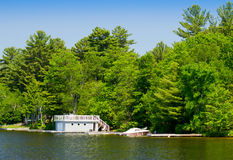 Boathouse and a boat Royalty Free Stock Photography