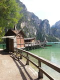 Boathouse in Braies lake Royalty Free Stock Photo
