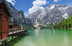 Boathouse at the Braies Lake Stock Photo