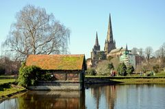 Boathouse and Cathedral, Lichfield. Royalty Free Stock Images
