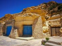 Boathouse Daħlet Qorrot Bay Gozo. Three boathouses built into the rock at Daħlet Qorrot Bay Gozo stock photography