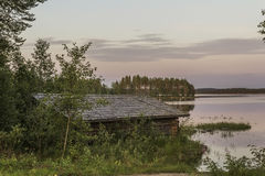 Boathouse. In evening sun in Eastern Finland stock photography