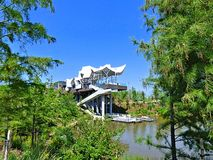 Boathouse at The Gathering Place in Tulsa Oklahoma royalty free stock photography