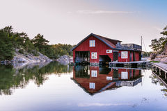 Boathouse on Harstena in Sweden Stock Images