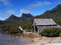 Boathouse, lac dove, montagne de berceau Photo stock