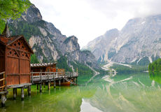 Boathouse at the Lago di Braies Royalty Free Stock Photography